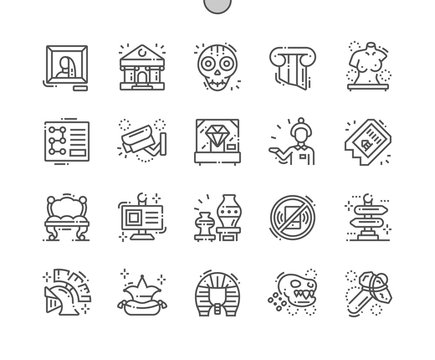 Museum Well-crafted Pixel Perfect Vector Thin Line Icons 30 2x Grid for Web Graphics and Apps. Simple Minimal Pictogram