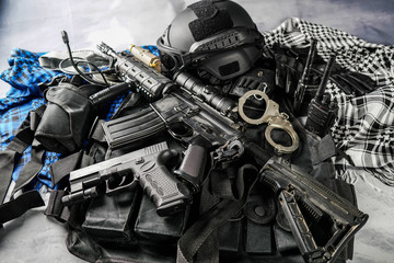 military equipman and weapons close up shooting