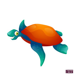 Cartoon character sea turtle smiling.