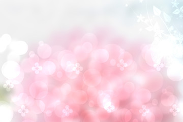 Abstract pink spring or summer flower background. Abstract flower background with beautiful abstract pink blossom, lights and white flowers. Nice flower texture.