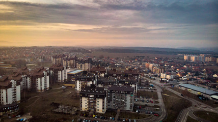 Aerial view of sunset in a city in winter. Kragujevac in Serbia.