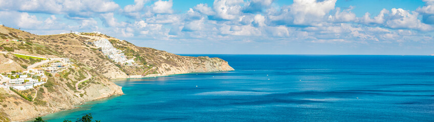 Beautiful Panorama with turquoise sea. View of Theseus Beach, Ammoudi, Crete, Greece.