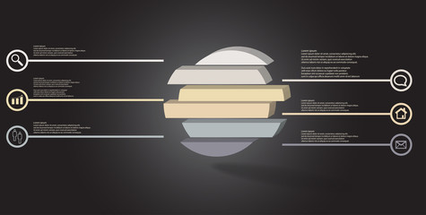 3D illustration infographic template with embossed ring divided to six parts