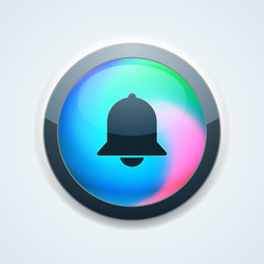 Bell button Holographic style  illustration