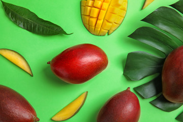 Flat lay composition with ripe mangoes and leaves on color background