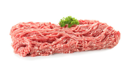 Minced meat with parsley on white background