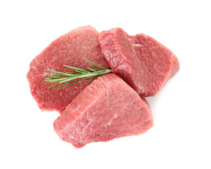 Raw meat with rosemary on white background, top view
