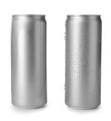 Aluminum cans with beverage on white background. Space for design