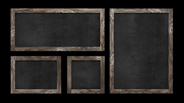Wood Blackboard Old Frame Sign Collection Set Isolated Black Background