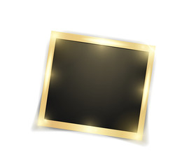 Square realistic golden shining frame template with shadows isolated on white background. Vector illustration