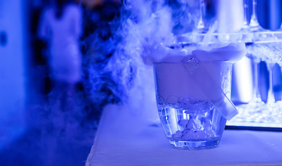 alcohol with liquid nitrogen at the banquet