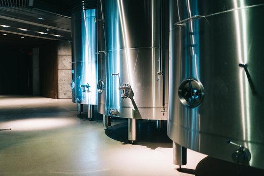 Modern winery with big steel barrels