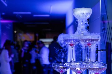 Pyramid of champagne with liquid nitrogen