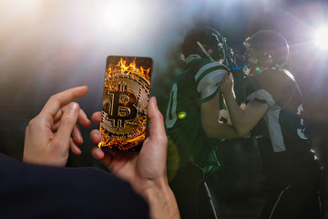Golden bitcoin coin against digital currency sport, ball background