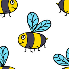 Seamless pattern with cartoon doodle linear bee Wrapping paper, fabric, textile, background. Vector illustration.