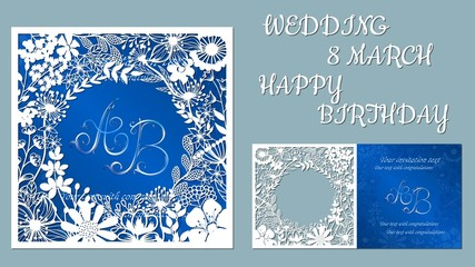 Vector greeting card for holidays. With the image of wildflowers and dragonflies. Inscriptions-wedding, March 8, happy birthday. Template for laser cutting, plotter cutting, silk screen printing.