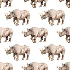 Seamless pattern with rhino