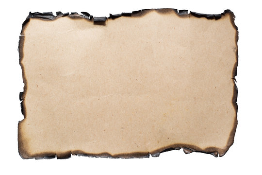 Old burnt paper isolated on a white background