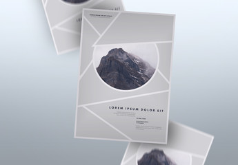 Event Poster Layout with Mountain Photo