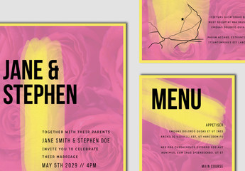 Pink and Yellow Wedding Stationery Set with Floral Element
