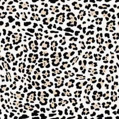 Seamless Faux Textured Snow Jaguar Skin Pattern with spots on light grey background. Vector EPS10 animal repeat surface pattern.