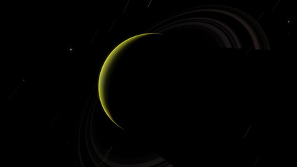 Green exoplanet with rings gas giant Saturn planet 3D illustration (Elements of this image furnished by NASA)