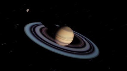 Exoplanet with rings gas giant Saturn planet (Elements of this image furnished by NASA)