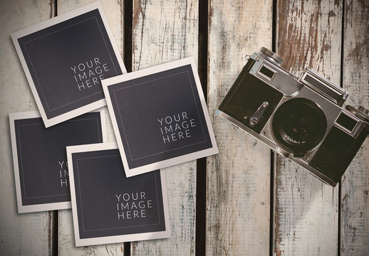 Camera with Instant Film on Wood Mockup