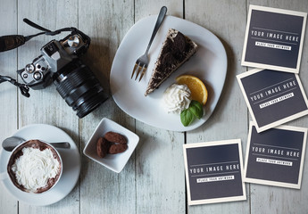 Camera and food on wooden table with four pictures Mockup