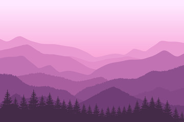 Mountain landscape with blue silhouettes of forest trees mountains and hills. Panoramic mountain view. Vector illustration.