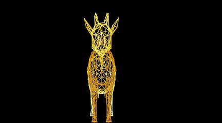 3d rendering of an animal wireframe isolated on a black background