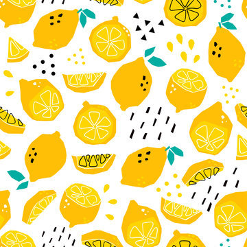 Hand drawn abstract lemons. Colored vector seamless pattern