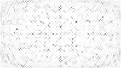 Abstract dots background. Dots pattern. Monochrome grunge dirt texture. Halftone Pop Art. Comic. Geometric small dots, wave 3d vector pattern. Template for presentation, business cards, report, fabric