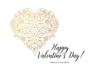 Ornate vector heart. Valentine's Day Illustration.