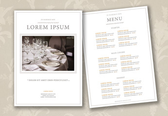 Elegant Restaurant Menu Layout
