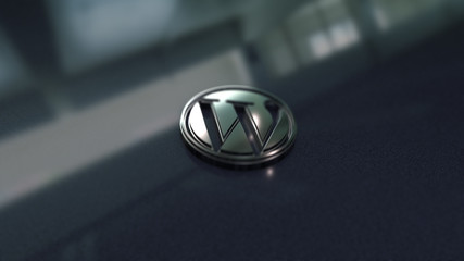 Wordpress symbol close up - metal shape on metallic background. Render 3D.