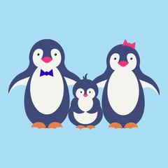 Cute penguin cartoon illustration. Vector penguin. Happy character design. Isolated cartoon penguin.