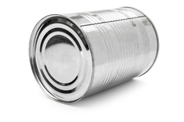 Metal tin can on white background.