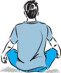 man in meditation posture illustration