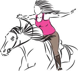 WOMAN RIDING HORSE liberty concept illustration