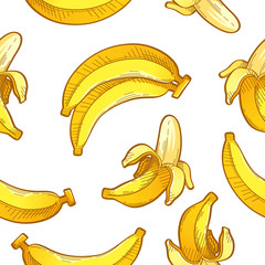 Banana painting pattern seamless on white background vector