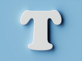 White paper letter alphabet character T font