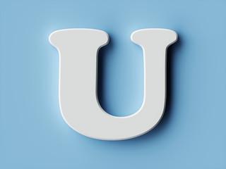 White paper letter alphabet character U font