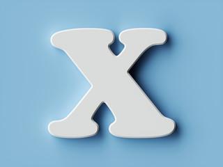 White paper letter alphabet character X font
