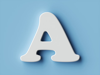 White paper letter alphabet character A font