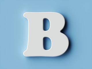 White paper letter alphabet character B font