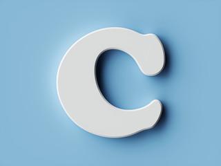 White paper letter alphabet character C font