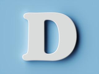 White paper letter alphabet character D font