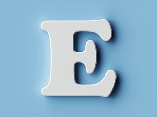 White paper letter alphabet character E font