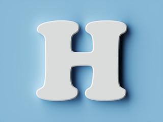White paper letter alphabet character H font